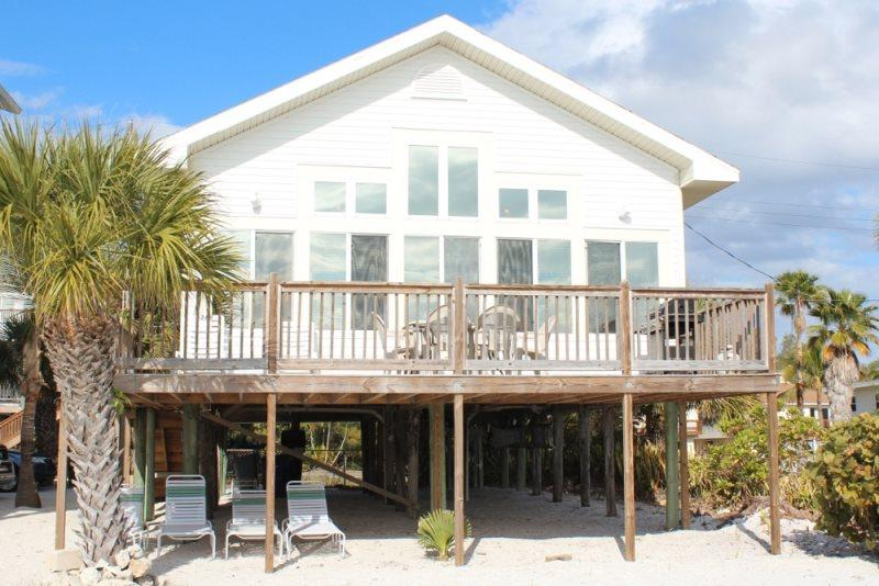1/24: Beach side of hoouse - Direct Beachfront Cottage with Large Gulf View Deck and Shared Heated Pool - Fort Myers Beach - rentals