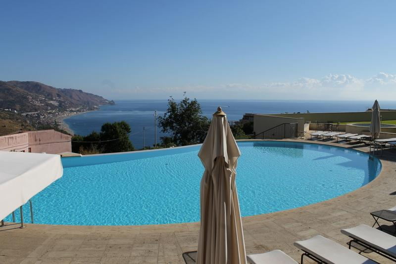 The Pool and the View from the Apartment - Taormina Lux Apartment  Sicily with pool in center - Taormina - rentals