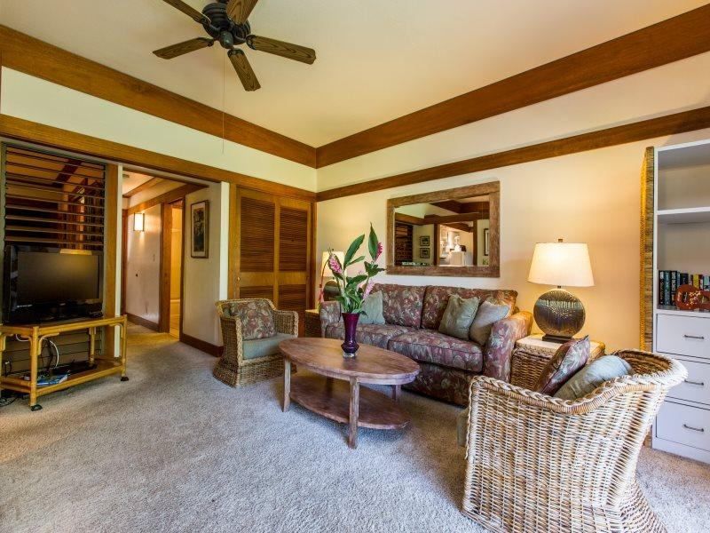 Living Room - Free mid-size car with Kiahuna Plantation 406 -1 bedroom  short walk to beaches - Koloa - rentals