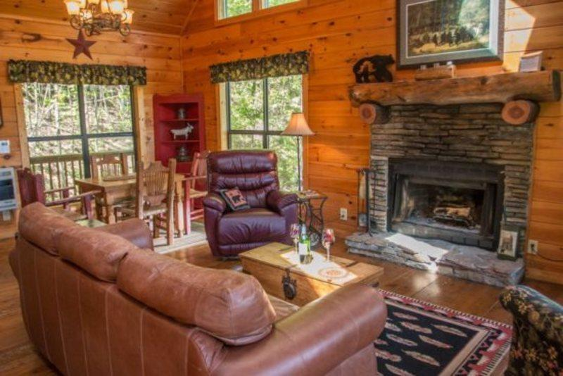 Relax in front of the stacked wood burning  fireplace - Bear Dancer - Wonderfully secluded with mountain view! Sleeps up to five! - Chatsworth - rentals