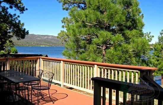 Deck view of lake - The Antlers Cabin a cozy Lakefront Big Bear Vacation Cabin with superb panoramic views of the lake and BBQ. - Big Bear Lake - rentals