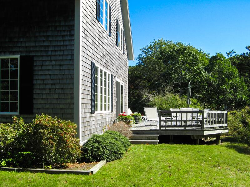 Exterior of House and Deck - BRACJ - Katama Area  Home,  Bike or Drive to South Beach and Edgartown Village Area,  Private yard, Large Deck with Patio Dining, - Chappaquiddick - rentals