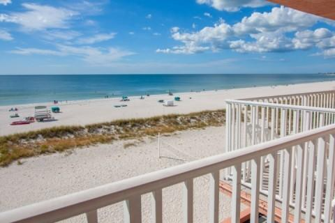 Beachfront Balcony View from the 4th Floor - 412 - Island Inn - Treasure Island - rentals