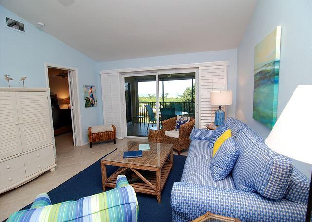 Living Room - Gulf view Sandpiper Beach condo - Sanibel Island - rentals