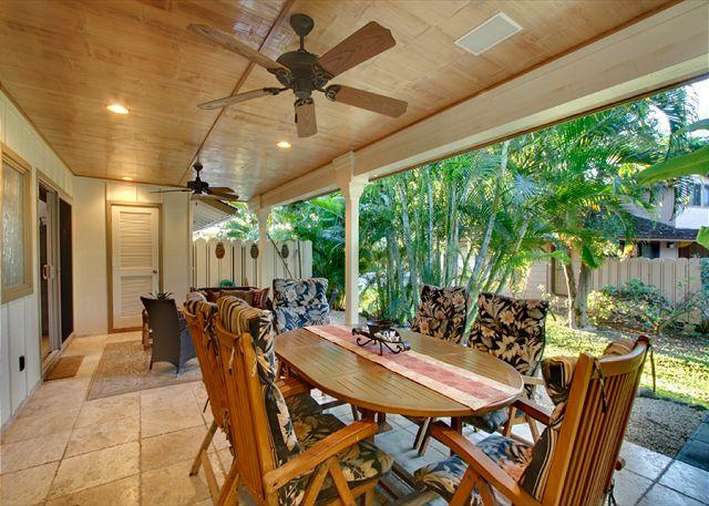 Private Lanai and Dining Area - Fabulous Ocean View Townhouse with Three Master Bedroom Suites - Lahaina - rentals