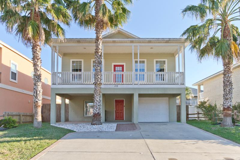 Street view of house and North facing balcony - 115 E. Swordfish - South Padre Island - rentals