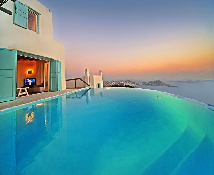 Greek VIllas Mykonos -  Azure Seaview Villa w 4 B/R  tennis and helipad - Image 1 - Mykonos - rentals