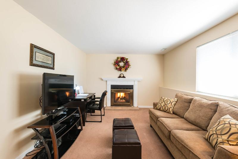 Lower living Room with gas fireplace, flat screen tv, dvd player and wireless internet - The Columbine 3 bed 2 bath furnished vacation/corp - Colorado Springs - rentals
