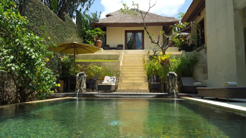 the overview from behind the pool , the main room on top - 3-bedroom Villa Purnamasari located central Ubud - Ubud - rentals