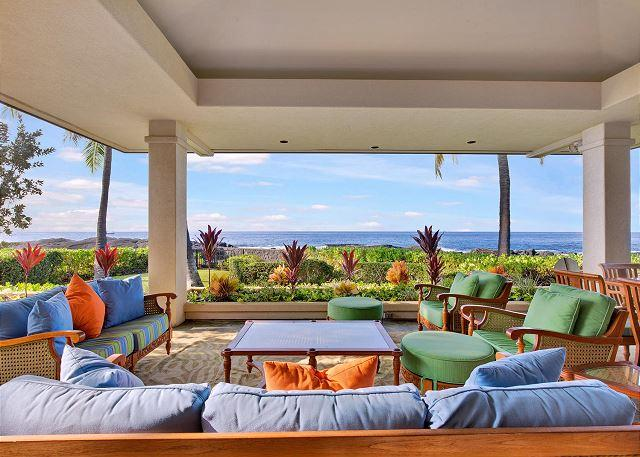 Outdoor Living Area - Spectacular Oceanfront Home in Kona Bay Estates #23 steps to Keiki Beach-PHKBE23 - Kailua-Kona - rentals