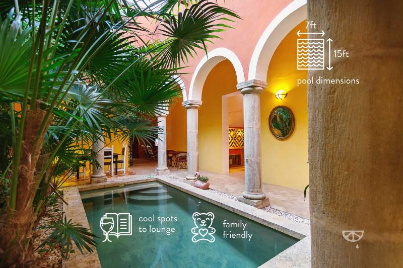 The private pool and dining area segue into the indoors, bringing the tropics in. - Family-friendly bohemian luxury in urban Mérida. - Merida - rentals