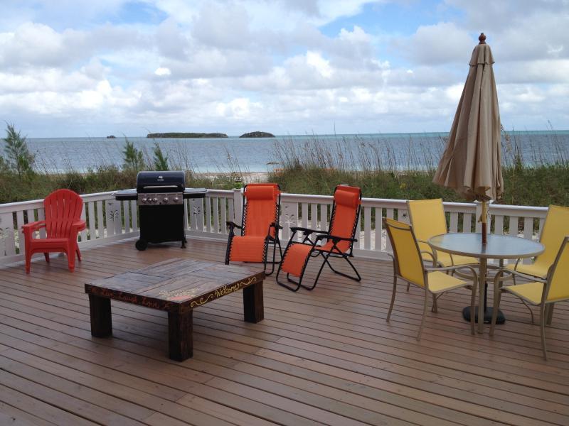 Outside Deck - Summer Sunset Beach Cottage/FREE Golf Cart, Kayak, - Spanish Wells - rentals