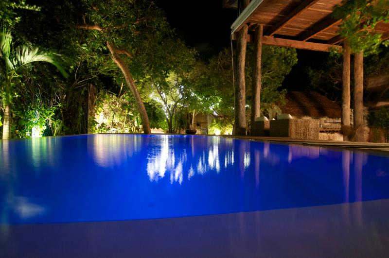 Pool at night: see video here! - South Point Jungle Tree House - Isla Mujeres - rentals