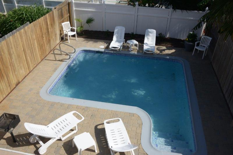 View of private heated pool from balcony - 117 E. Oleander - South Padre Island - rentals
