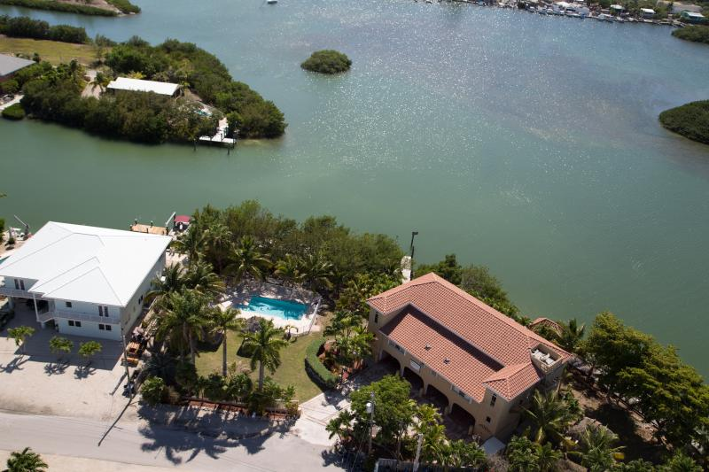 Areial View Overlooking Bonefish Bay - 4/5 waterfront gated home, heated pool, boat docks - Marathon - rentals