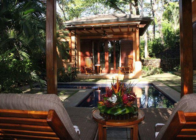 Covered Sitting Area by Pool at House - Gorgeous 3BR home, easy walk to two beaches, Langosta Beach Club Access-COL6 - Tamarindo - rentals