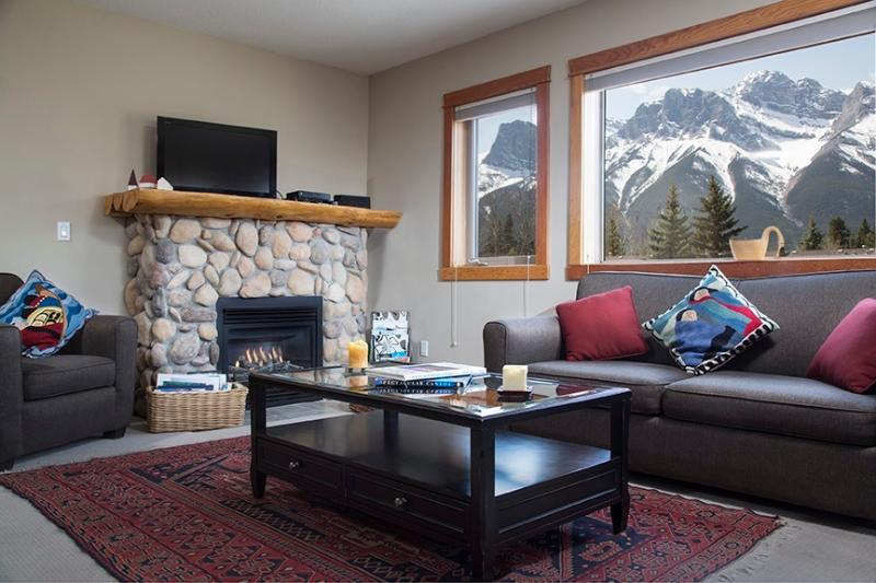 What a view from living area!!   Some have asked it this is a picture.   It is not. Show-stopping!! - Best Views in Canmore Condo---All Windows See Pics - Canmore - rentals