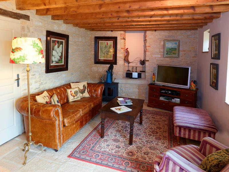 Comfortable lounge with TV that receives both French and English channels - Chez Hall - La Grange. charming barn conversion - Meursault - rentals