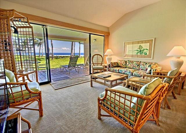 Living Room with Ocean View - Currently undergoing a cosmetic remodel.  Will be completed 10/1/2016! - Lahaina - rentals