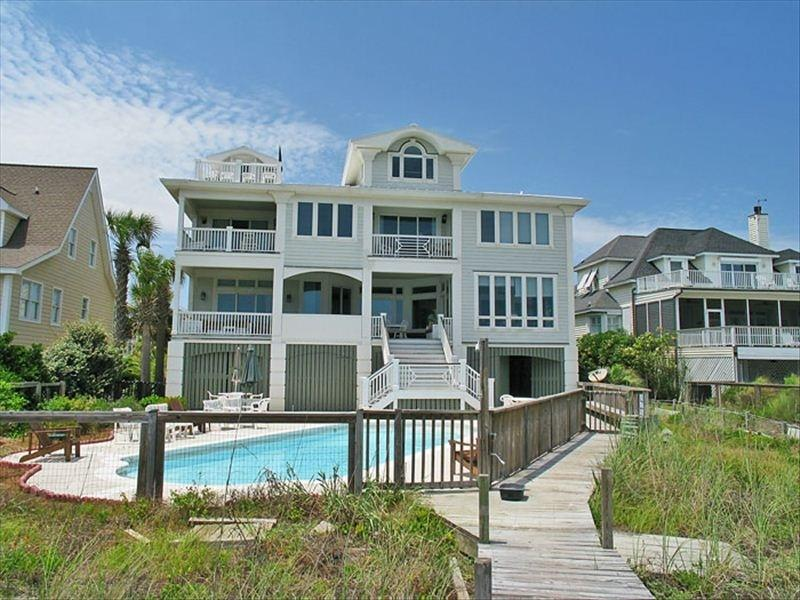 Exterior Rear with Pool Area - Oceanfront Home with Pool, Viewing Decks, Large Kitchen and Beach Access! - Isle of Palms - rentals