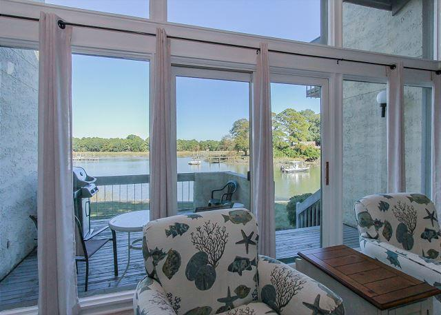 Living Area View - 1606 Port Villa - Stunning views of Braddock Cove & Steps to the Marina. - Hilton Head - rentals