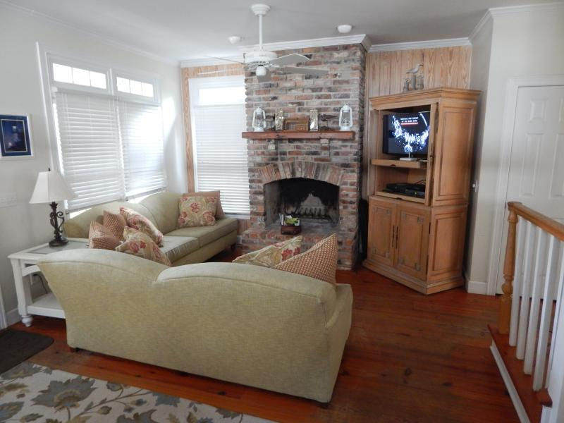 Living Room with cable TV - Charming Cottage near the Village - Saint Simons Island - rentals