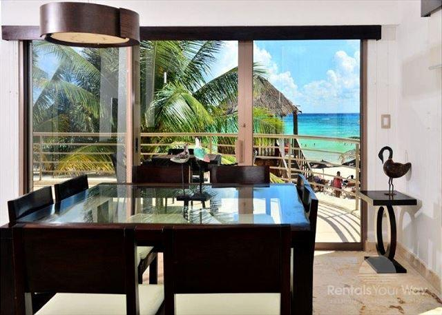 Corto Maltes 105 Playa del Carmen Dining Room - 2 Bedroom Oceanfront Condo at Corto Maltes! (CM105) 35% off - Playa del Carmen - rentals