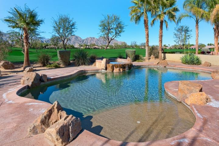 Saltwater Pool and Spa overlooking the Weiskopf Golf Course - Luxury Home (Desert Trip Available w/Reduced rate): Stunning Mt. View, Salt W Pool/Casita 3 BD/4BA - La Quinta - rentals