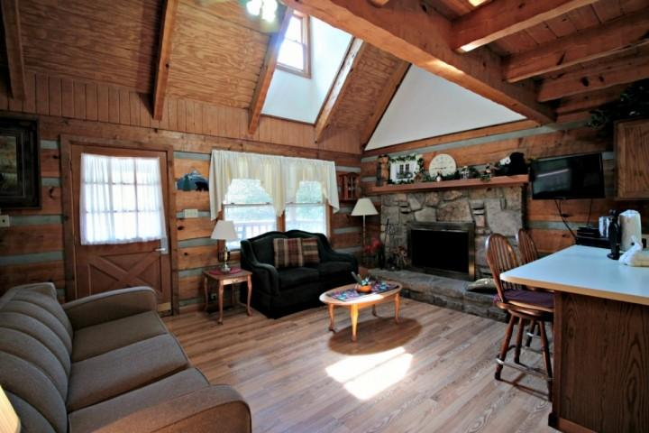 Open Area Living Room with Flat Screen TV and Fully-Stocked Kitchen - Family Friendly Cabin - Hot Tub - Porch Swing & Minutes to Downtown Gatlinburg - - Gatlinburg - rentals