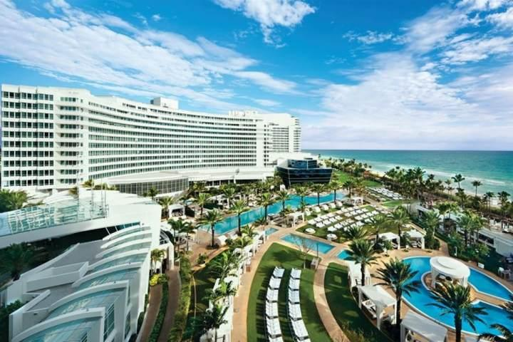 Aerial view of the Fontainebleau and Miami Beach. - ASK US FOR DISCOUNTS - Legendary Fontainebleau South Beach Oceanfront Suite - Miami Beach - rentals
