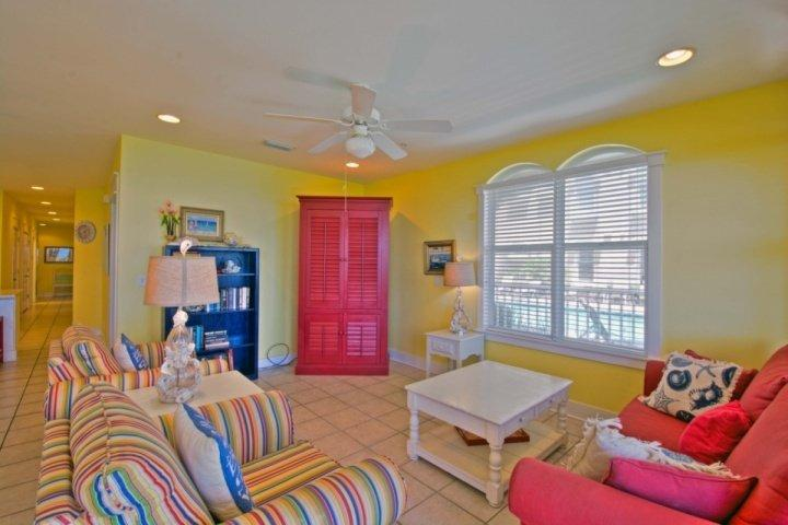 Living Room features sleeper sofa - Monterey B101 - Gulf Front Paradise! Steps to Sugar Sand Beach & Heated Pool! - Seacrest Beach - rentals