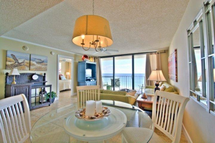 Open Floor plan integrates living area, dining area, and kitchen - 705 One Seagrove Place ~ 2BR/2BA Birds Eye View 7th Floor!  POOL HEAT! - Seagrove Beach - rentals