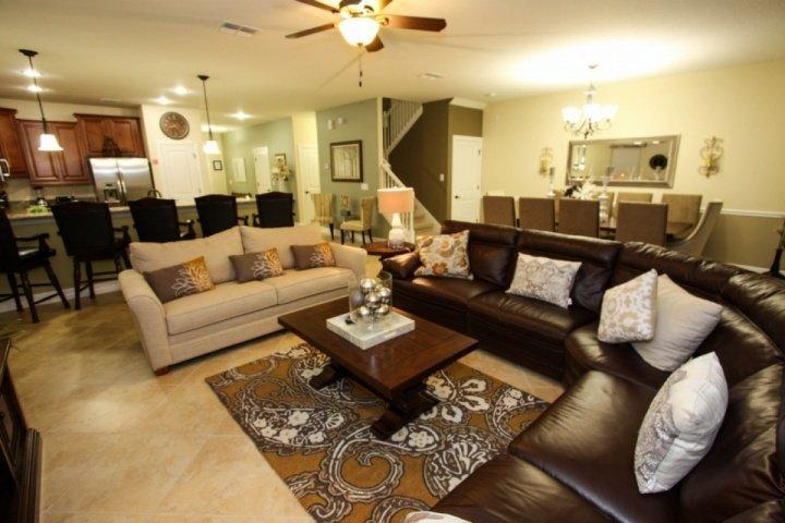 Beautiful Open Floor Plan Living Area, Dining Area, Kitchen and Pool Access - 1484 Champions Gate - Davenport - rentals