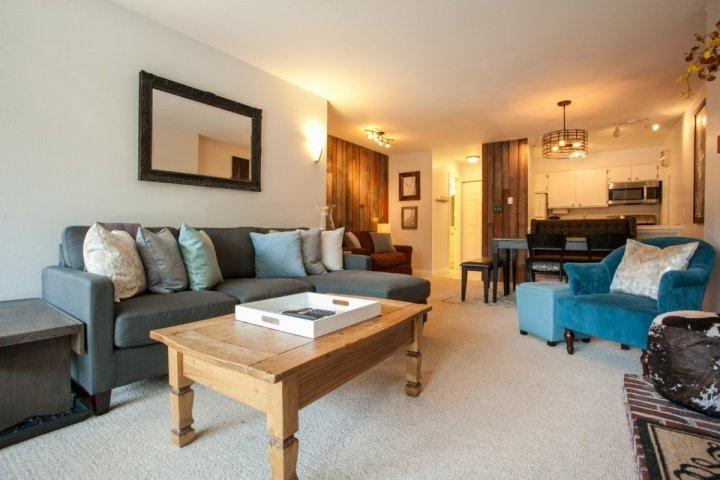 Living, dining and kitchen are one open space, great for gathering with friends and family. - Newly Furnished Condo, Convenient to Vail & Lionshead, On Bus Route! - Vail - rentals