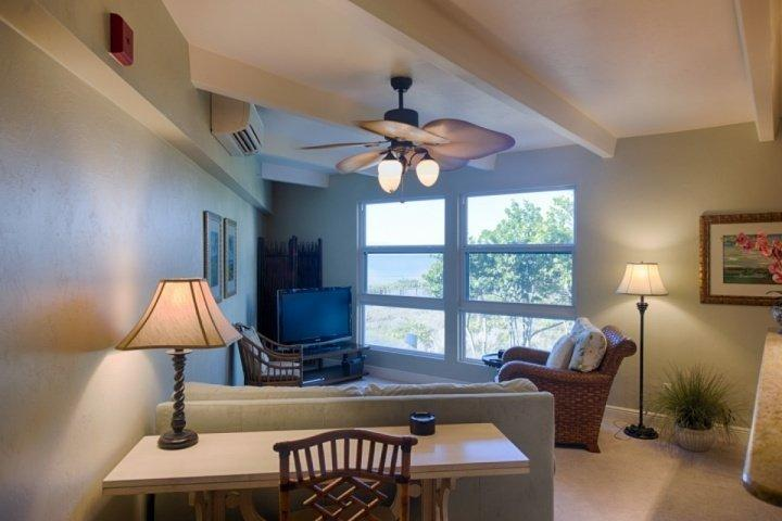 Living Room with Gulf View - GULF FRONT CONDO!! - Beautiful 1 bedroom 1 1/2 bath condo. - Sanibel Island - rentals
