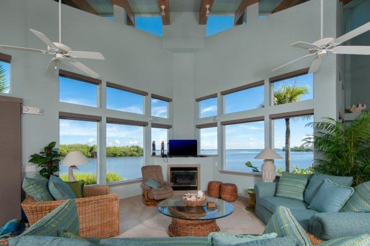 Beautiful Living Room with Panoramic Views of the Bay - The Bay House - Spectacular VIews!!  Your Own Private Beach!! - Sanibel Island - rentals