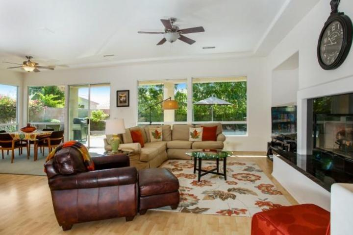 Open and Airy Living Area with Breakfast Bar and Dining Space Opening to Pool and Spa - The Perfect Interlude!... Spacious & Gracious home with Private Pool/Spa; 3 - Palm Desert - rentals