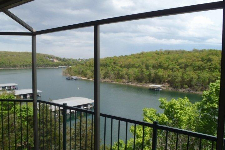 View of Table Rock Lake from your private screened in covered deck. - Ozark Mountain Resort 3BDR Condo - Kimberling City - rentals