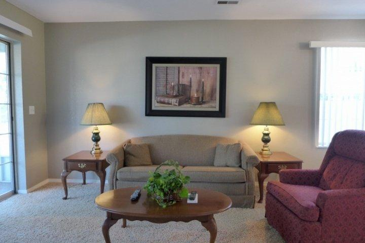 Living Area with Sofa/Bed and large Flatscreen - Fall Creek (Abbey Lane) Two Bedroom Condo (61-9) - Branson - rentals
