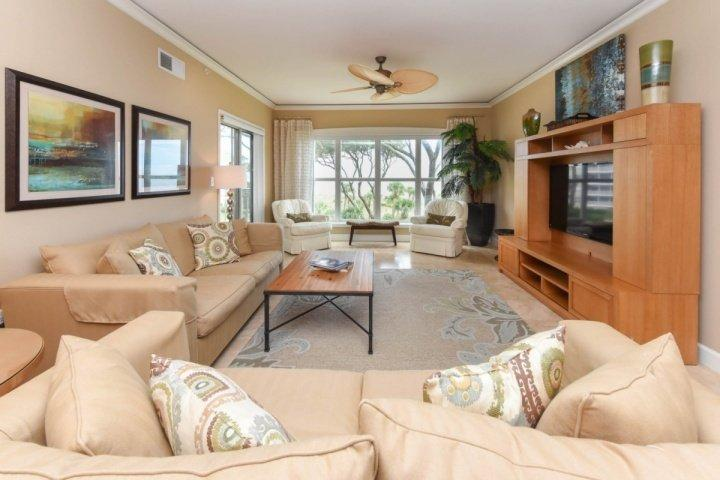 Family Room with Sliding Door to Ocean View Balcony - Spectacular Ocean Front 2BR Villa - Amazing Views From Every Room - No Hurricane Damage - Hilton Head - rentals