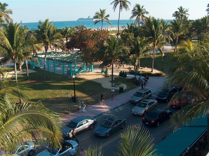 View of the Street and Park outside the building from Building Roof - 1 Bdrm Condo on Ocean Dr- Direct Across from Ocean - Miami Beach - rentals