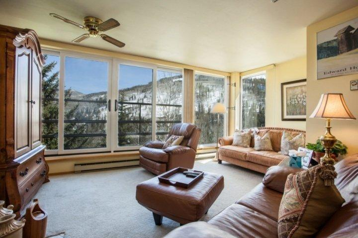 Beautiful, bright south facing mountain views from the living area. - 5th Floor Condo, Mountain Views, Heated Indoor Pool, Hot Tubs, Comfortable and Family Friendly! - Vail - rentals