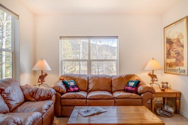 Main Den Area - Queen Size Sofa Sleeper - Gorgeous views of Field/Aspens - Kingdom Park:Block to Shuttle,PASSES to Rec Cntr Nxt Door+ Rare Corner Sunny - Breckenridge - rentals