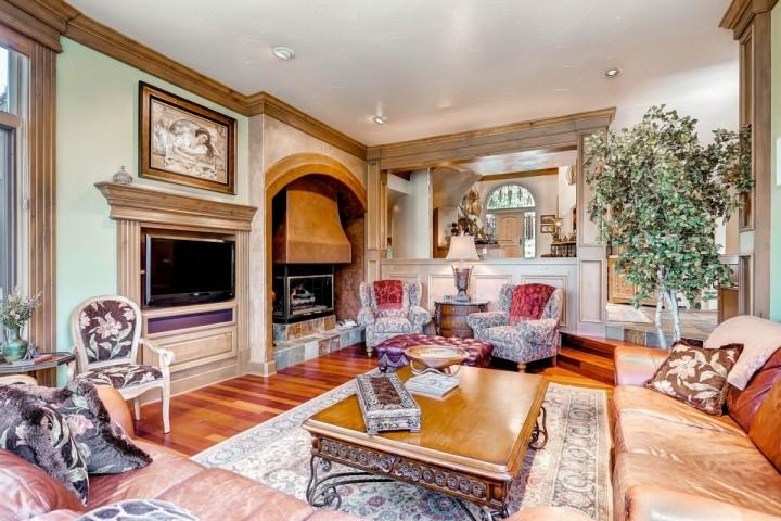 Living Room, Toward Front Entry - Gold Flake Terrace: 5-Star Luxury Estate-Exceptional Finishes, Home Theater, 4 Fireplaces - Breckenridge - rentals