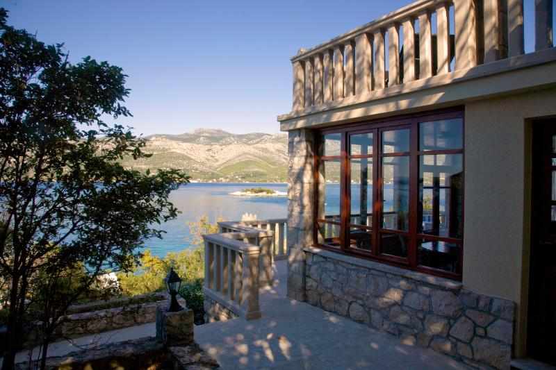 View of loggia and gardens - Waterfront Home for Rent in Korcula, Croatia - Korcula - rentals