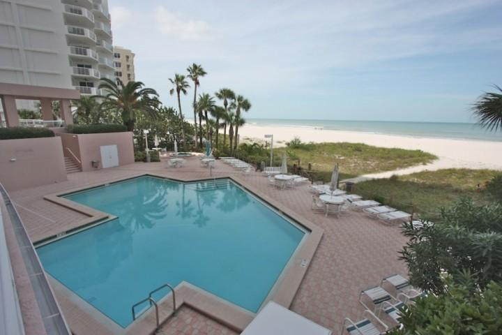 Heated Communal Pool with Hot Tub overlooking the Fabulous Gulf of Mexico! - 12B Crescent Beach Club - Clearwater Beach - rentals