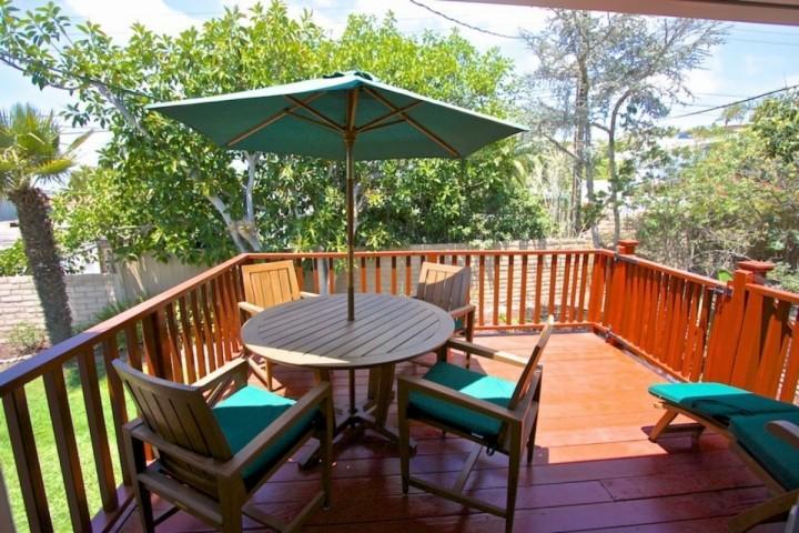 Teak patio furniture on deck - Hummingbird Hill in the Lantern District - Dana Point - rentals