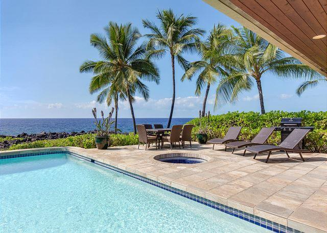 Amazing Views from Your Ocean Front Pool - Ocean Front, Spacious 4 bedroom 3.5 bath home in Kona Bay Estates, VIlla Kai-PHKBEVK - Kailua-Kona - rentals