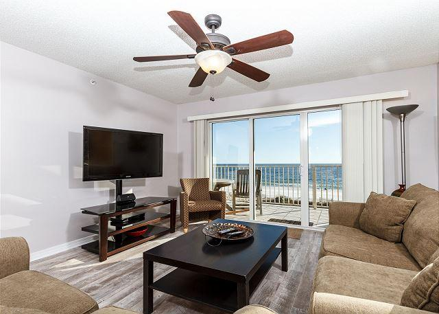 The view from the living area in this condo is incredible! - GD 310:NEWLY RENOVATED corner unit w/ WIFI, BBQ, tennis, pool, FREE BCH SVC - Fort Walton Beach - rentals