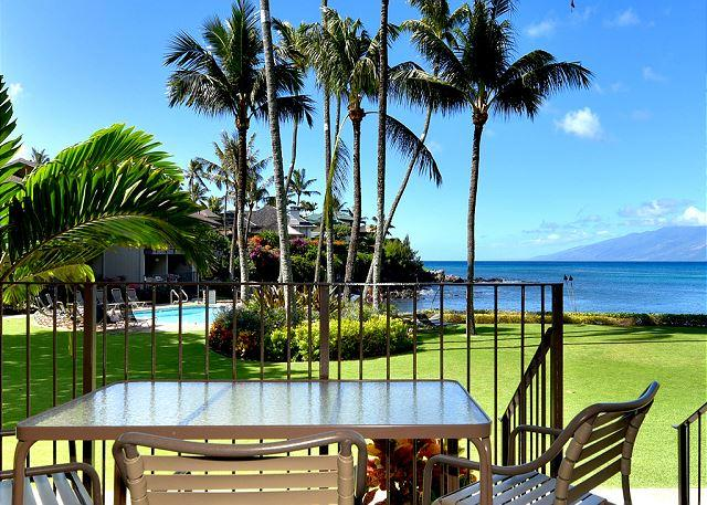 View from #114 lanai - Romantic! Oceanfront Ground Floor Honokeana Cove #114, Air Conditioned - Lahaina - rentals